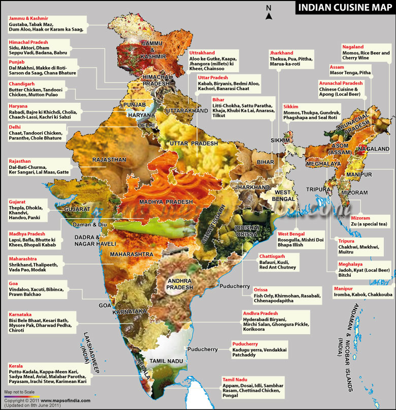 Indian cuisine map big apple curry Cuisines of india