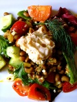 Salad with Curried Black Eyed Peas