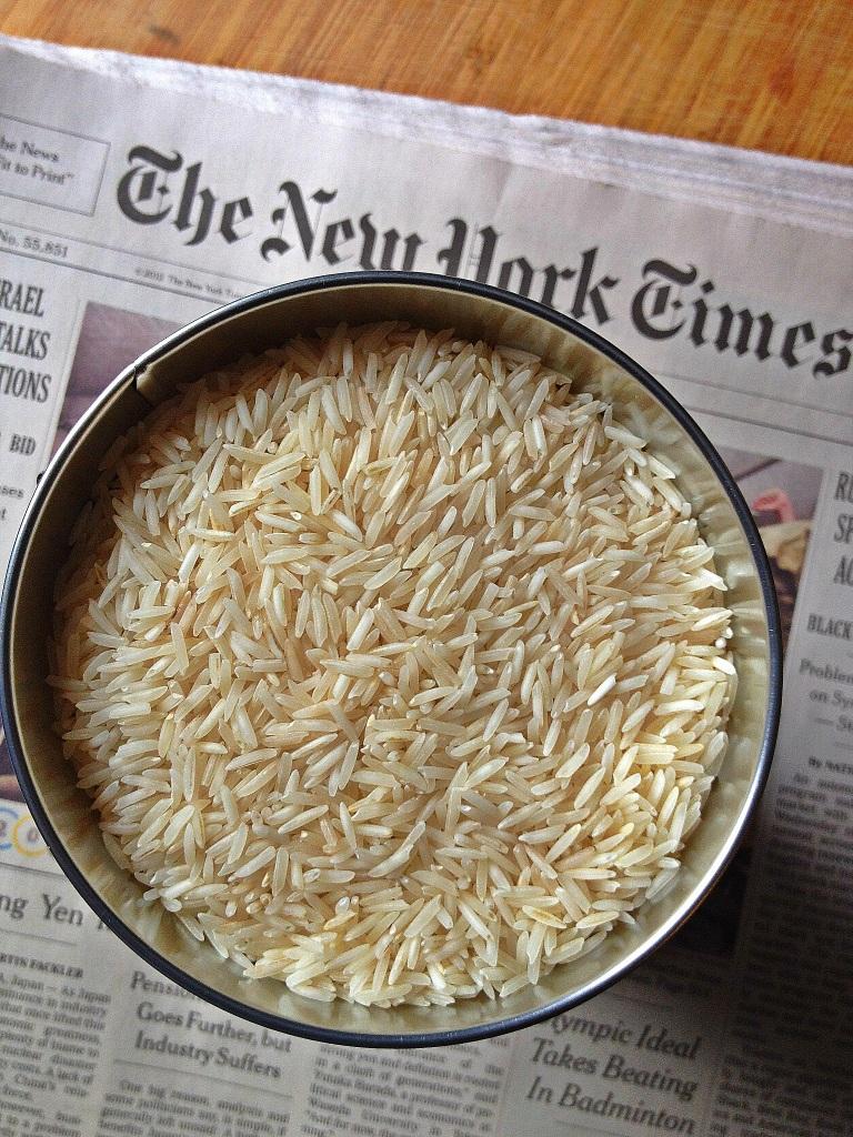 Bowl of raw basmati rice
