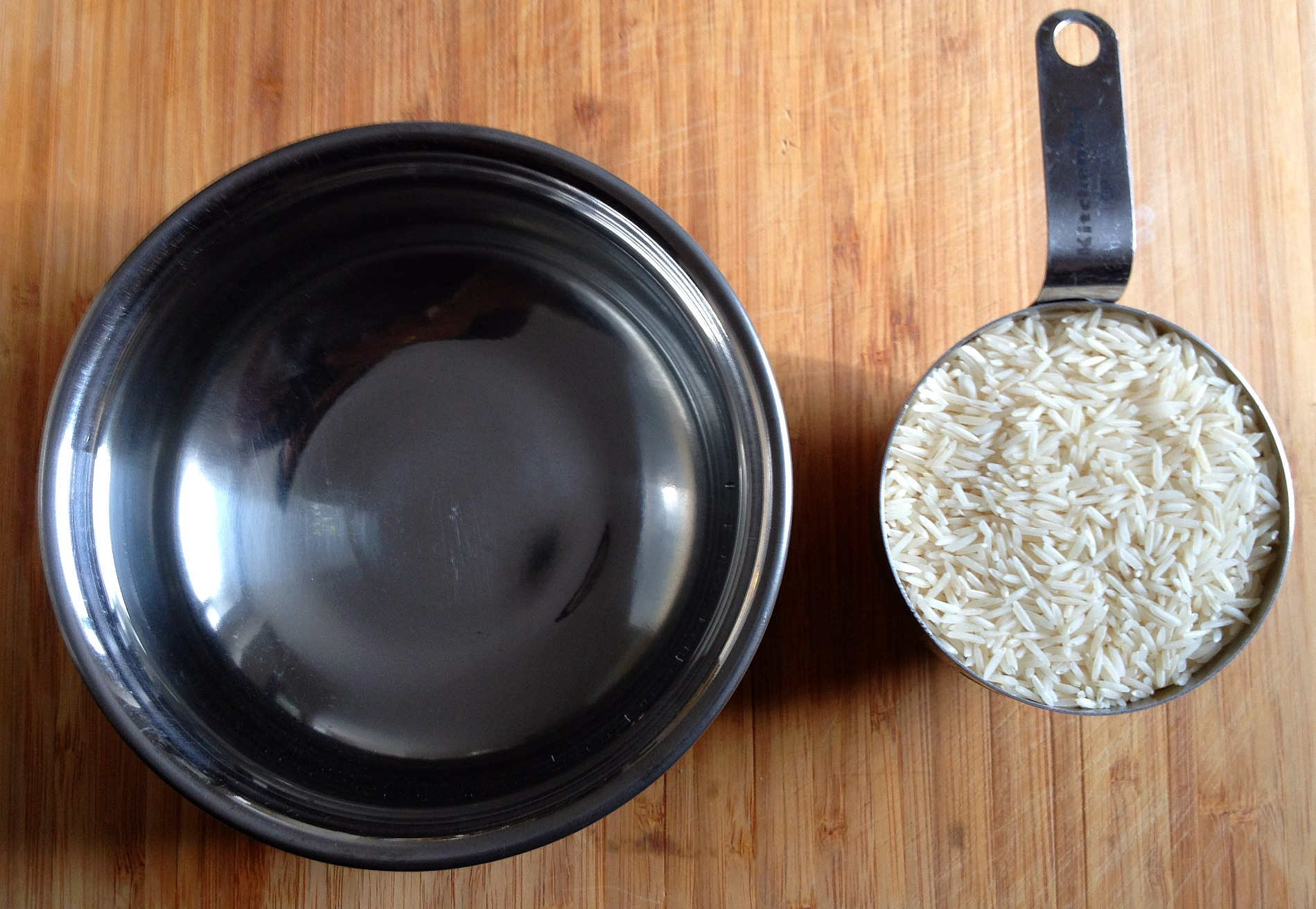 One cup of raw basmati rice and two cups of water