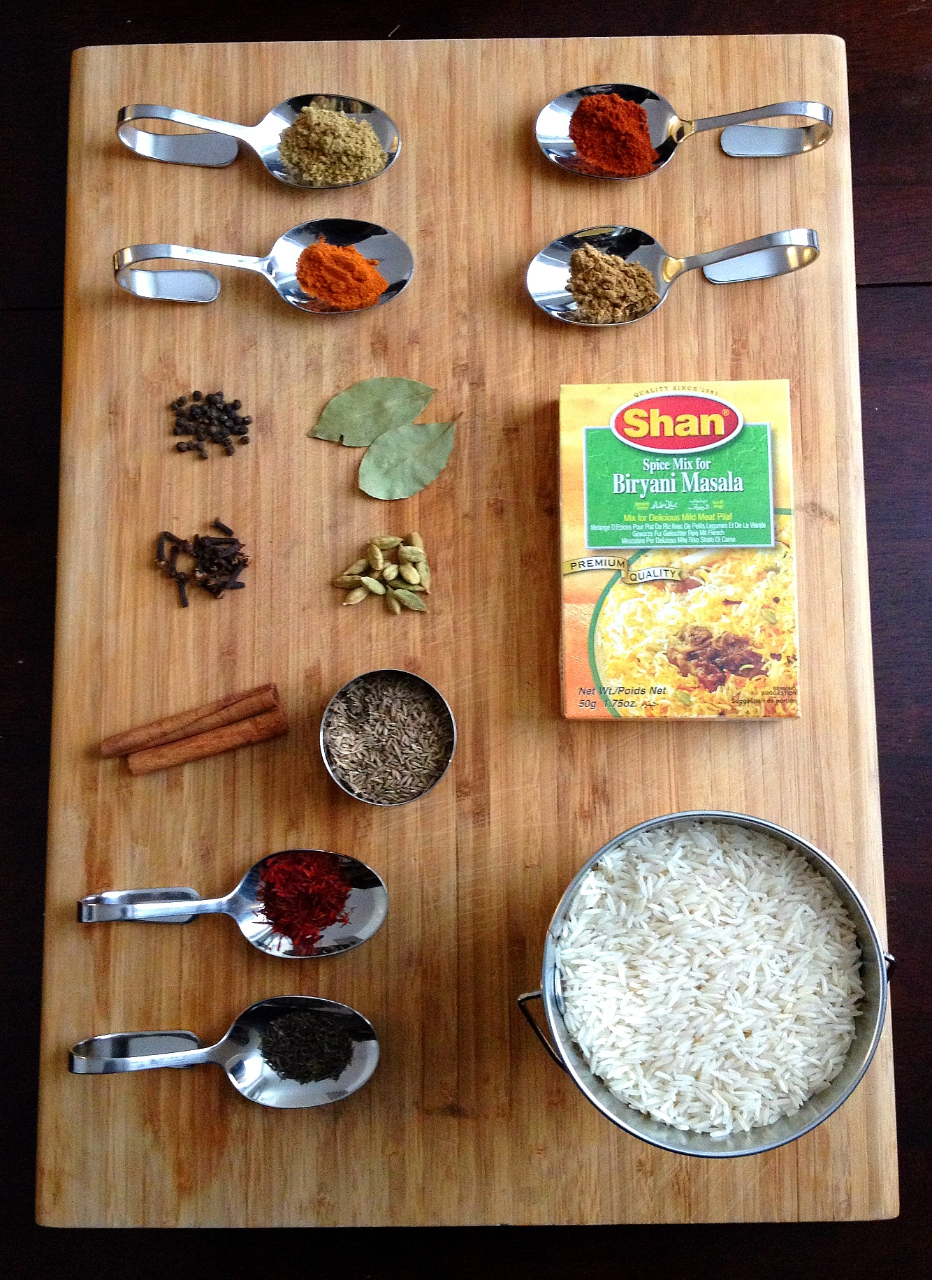 Ingredients for Lamb Biryani