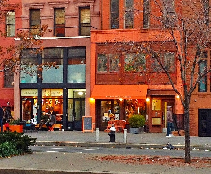 Cafes and shops on historic Lenox Avenue in Harlem