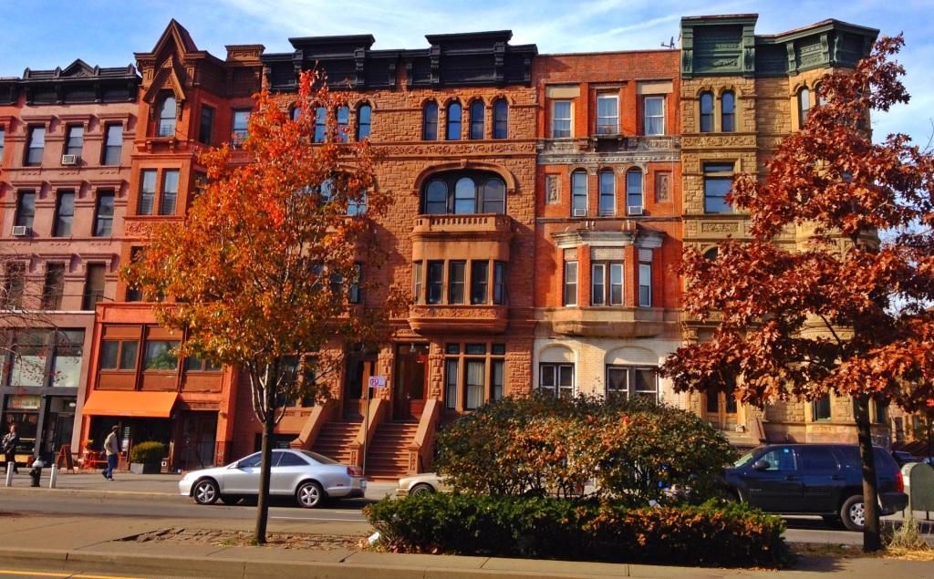 Harlem brownstones in Autumn