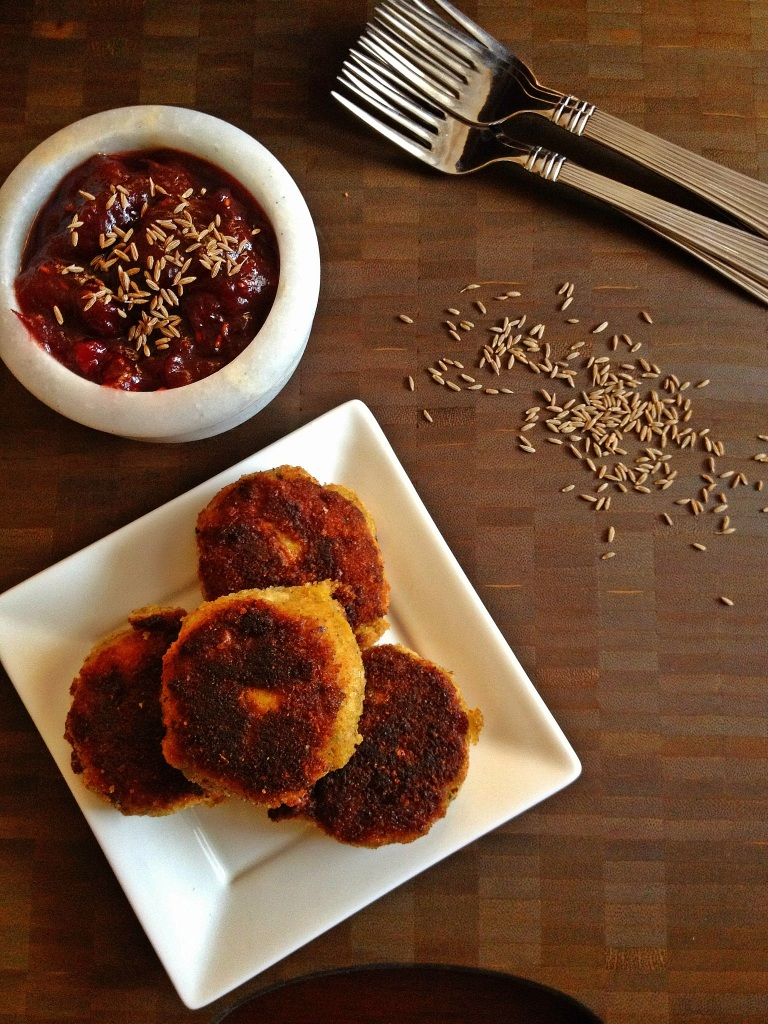 Leftover Thanksgiving Turkey & Potato Cutlets with Cranberry Chutney
