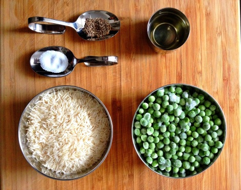Ingredients for Basmati Rice with Green Peas and Cumin