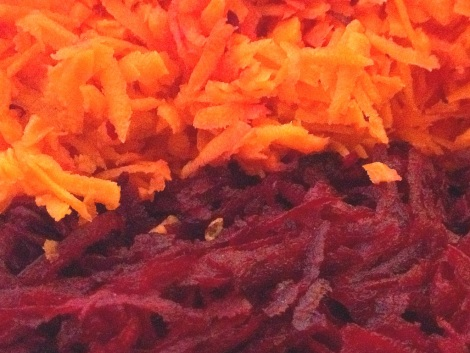 Grate the carrots and beets by hand or in a food processor