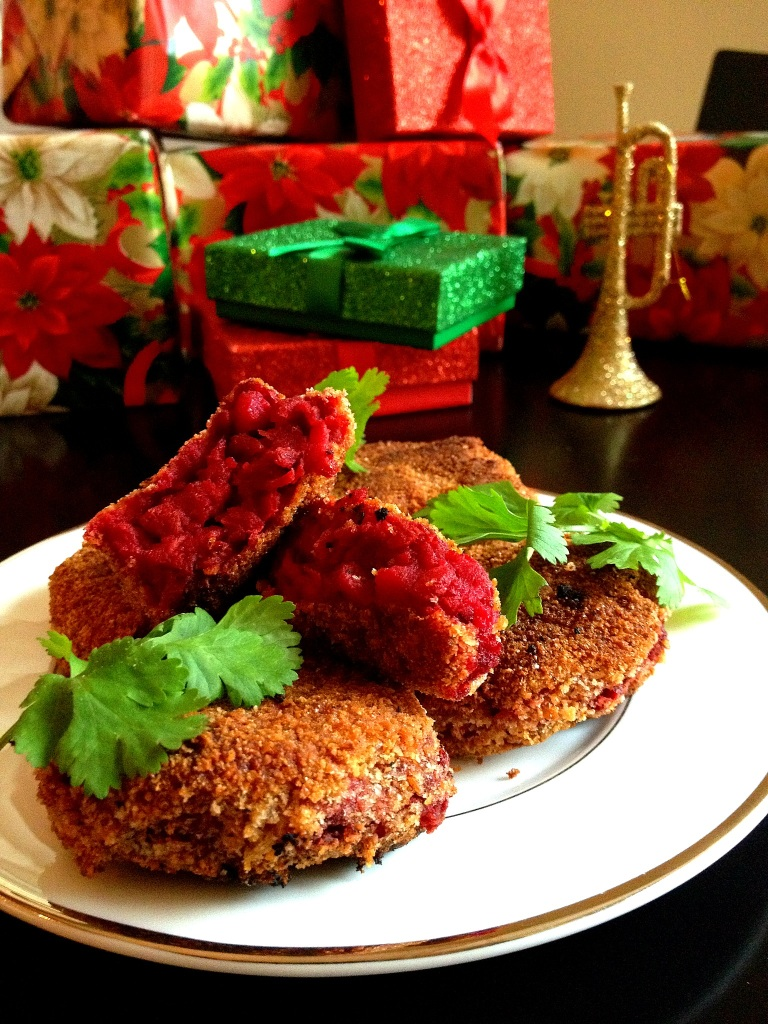 One of our favorite traditions on Christmas Eve: Red & Green Christmas Cutlets
