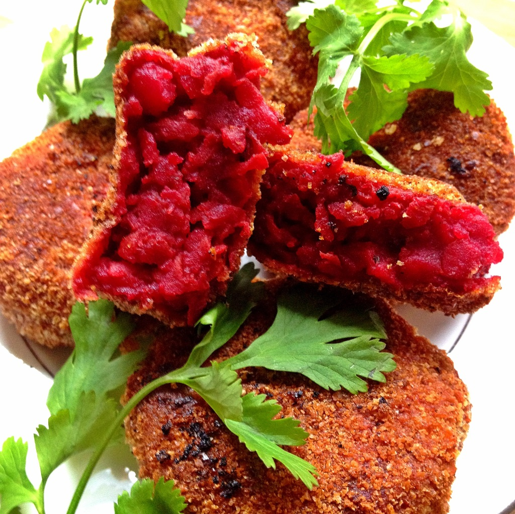 Most vegetable cutlets don't have beets in them; the addition here lends a deep red hue