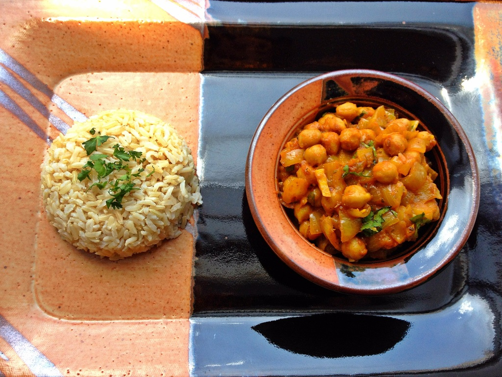 Eat healthy with steamed brown basmati rice with chick peas curry