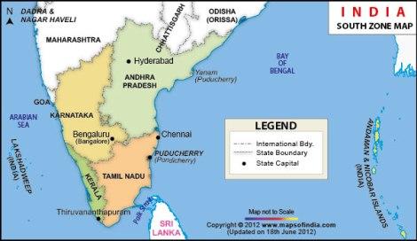 South India Map Tamil Nadu Map of South India Karnataka