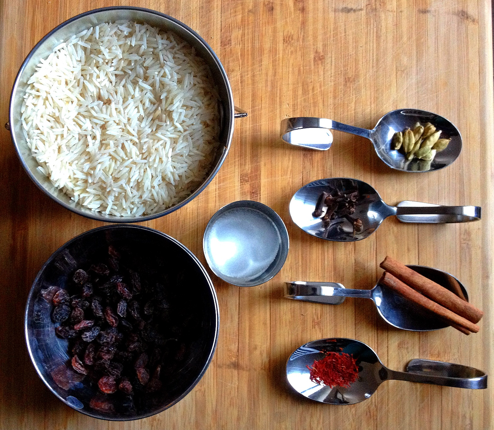 Ingredients for Basmati Rice with Saffron and Whole Spices