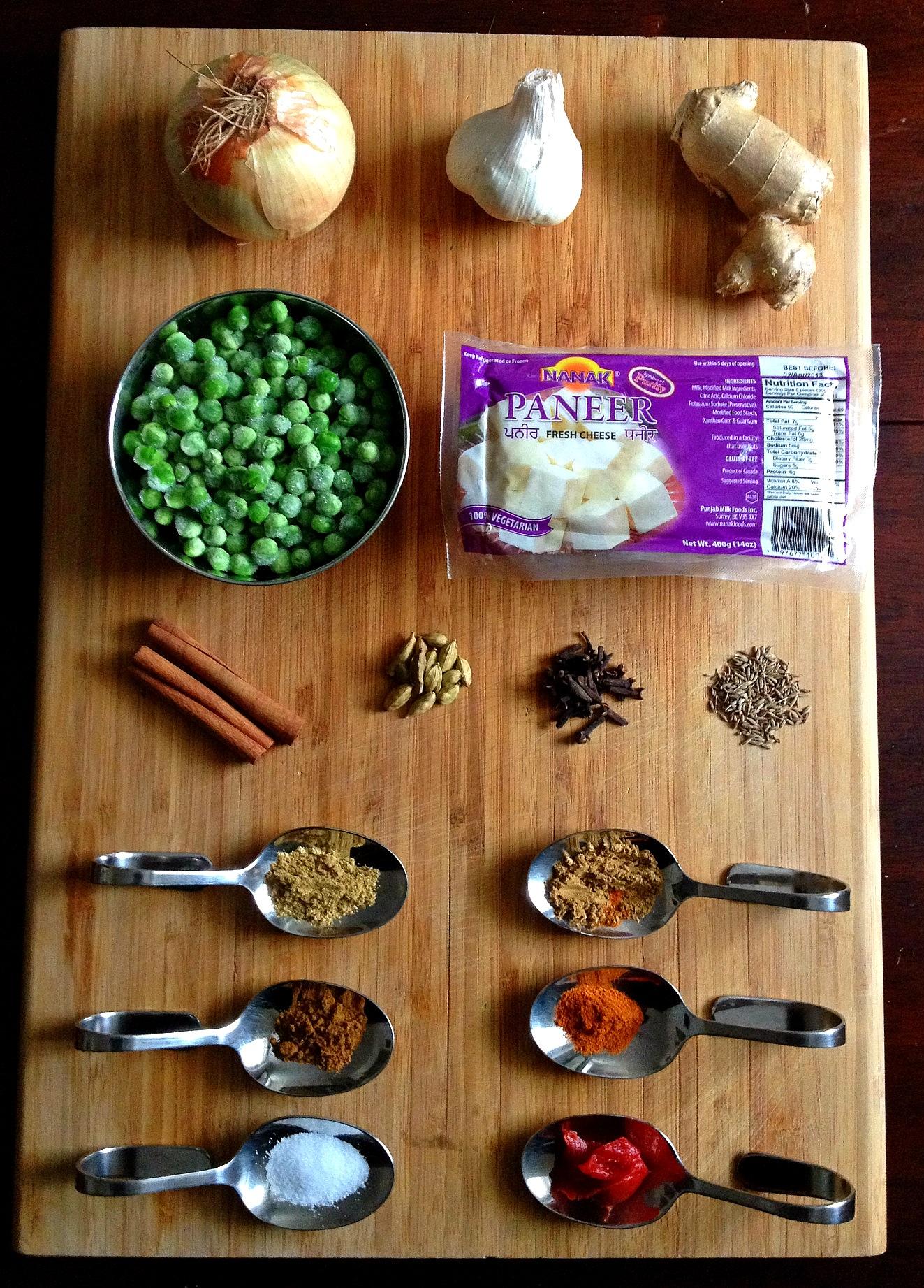 Ingredients for Mattar Paneer