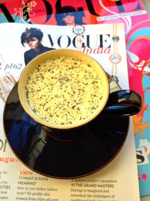 Mug of hot milk with turmeric and black pepper